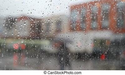 city., pluvieux, parapluie, gens.