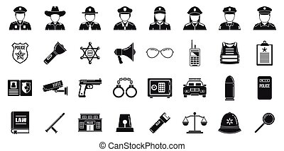 City policeman icons set, simple style