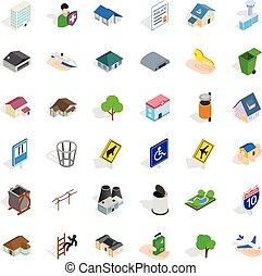City power icons set, isometric style - City power icons set...