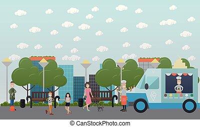 City public park vector flat illustration