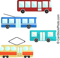 City public transport set. Bus, trolly and tram