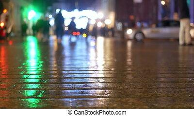 City rain people tram