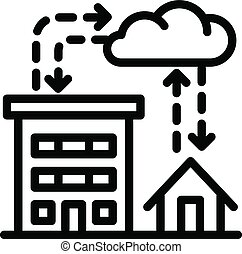 City rainfall icon, outline style