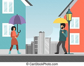 City rainy weather, character male female walking street with umbrella flat vector illustration. Urban bad drizzle meteorological condition.