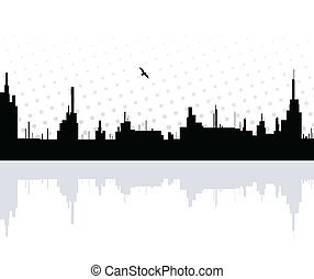 City reflected in the water with bird. Vector
