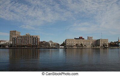 city reflections - A view of Wilmington, North Carolina from...