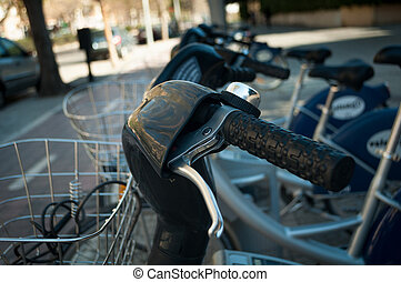 Bicycle Parking, the wheel and part of the basket closeup