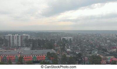 City residential buildings residential buildings pine trees drone aerial view Irpin Ukraine
