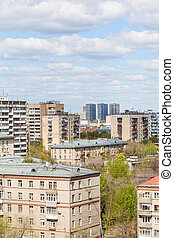 city residential district in sunny day