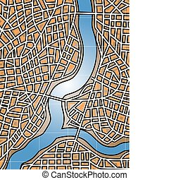 City river - Colorful editable vector map of a generic city ...