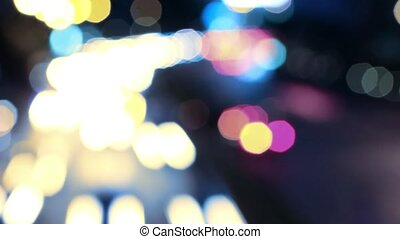 City road car lights at night with blurred bokeh. HD. 1920x1080