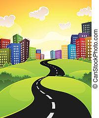 City Road - Illustration of a cartoon city road driving...