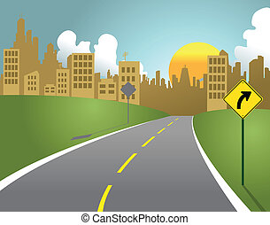 City Road - Illustration of a road leading into a large city...
