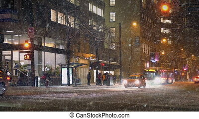 City Road In Snowstorm At Night