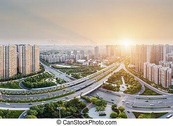 city road junction at dusk