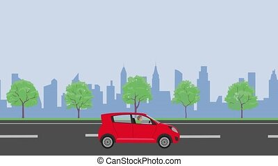 City road seamless animation with car on urban background. Looping video template for web banners with text place.