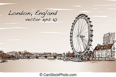 City scape drawing London eye and bridge, river, illustration vector