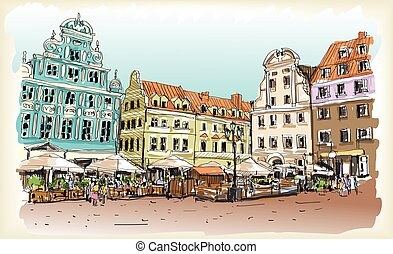 city scape drawing sketch in Poland downtown vector