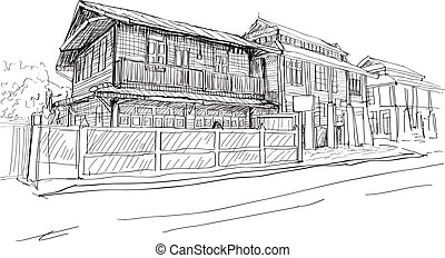 city scape drawing sketch in Thai wood house, vector