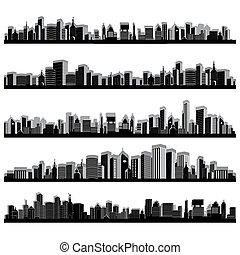 City Scape - illustration of set of cityscape silhouette on...