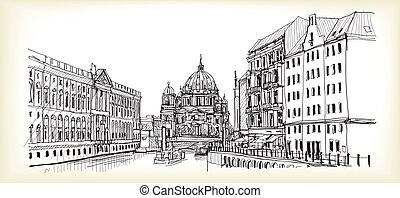 City scape in Germany. Berlin Cathedral. Old building hand drawn sketch, vector illustration
