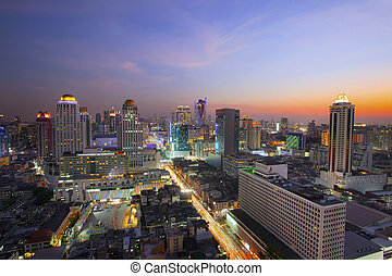 city scape in heart of bangkok thailand with beautiful lighting