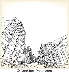 city scape in Tokyo, sketch drawing vector illustration