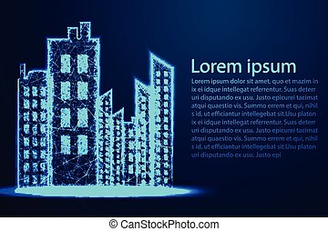 City scape, Night Scene. Urban Building .Abstract wireframe design. From connecting dot and line. Vector Illustration