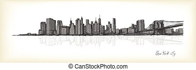 city scape sketch drawing in New York city, vector illustration