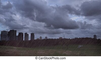 City scape timelapse with artificial rain - Shot of City...