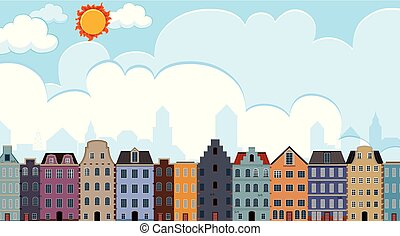 City scapes of building  illustration