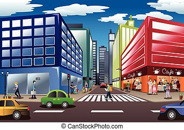 City Scene - A vector illustration of city scene