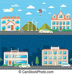 City scene where the residents are very conscious about their environment and going green concept in day and night