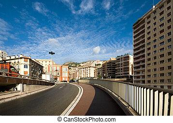 City Scene, Monte Carlo, Monaco - A road leading to the Gare...
