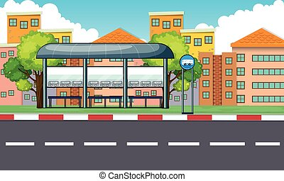 City scene with bus stop and buildings illustration