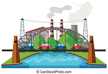 City scene with cars on bridge