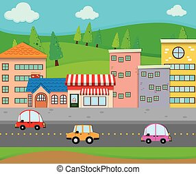 City scene with cars on the road