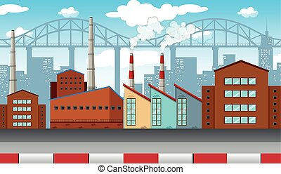 City scene with factories and buildings