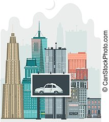 City scene with high rise buildings and billboards - City,...