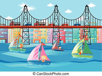 City scene with kids sailing and cars on bridge