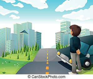 City scene with man on the road