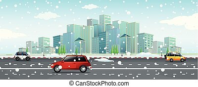 City scene with snow falling on the road