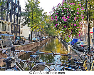 City scenic from Amsterdam in the Netherlands in fall