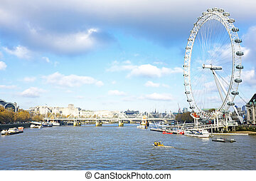 City scenic from London in the UK with the London Eye
