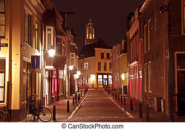 City scenic from Utrecht in the Netherlands with the Dom...