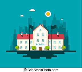 City School Building Vector Flat Design Illustration with Skyscrapers on Background, Trees and Flags