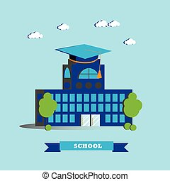 City school building vector illustration in flat style.