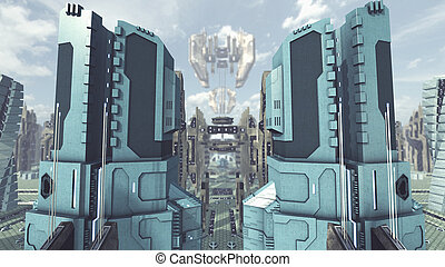 city., scifi, レンダリング, 出発しなさい, 未来派, 3d