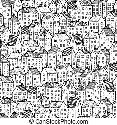City seamless pattern in balck and white is repetitive...