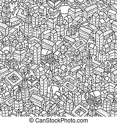 City seamless pattern is repetitive texture with hand drawn...